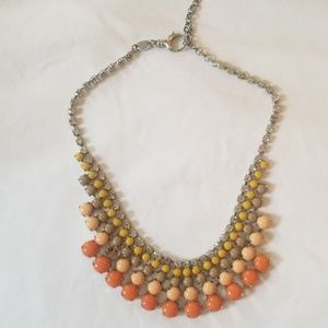 Tiered beaded silver Fossil necklace